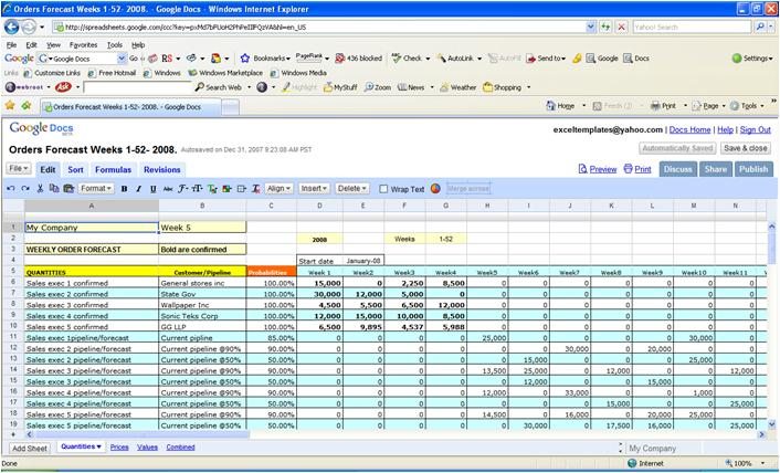 screen shot of google docs excel templates collection